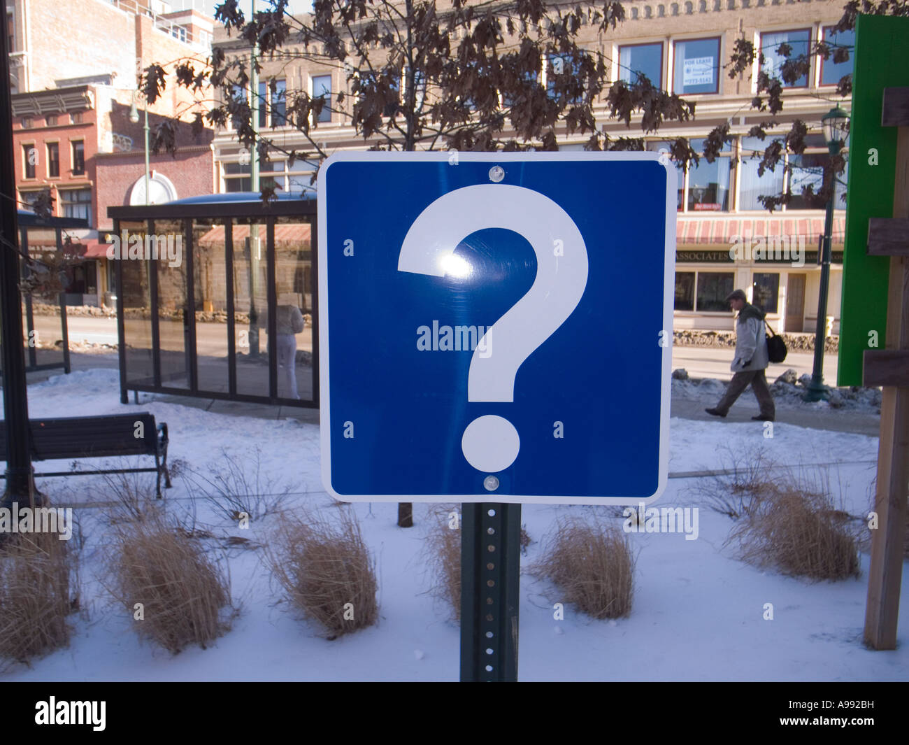 Conceptual Question mark sign outdoor artwork - Stock Image