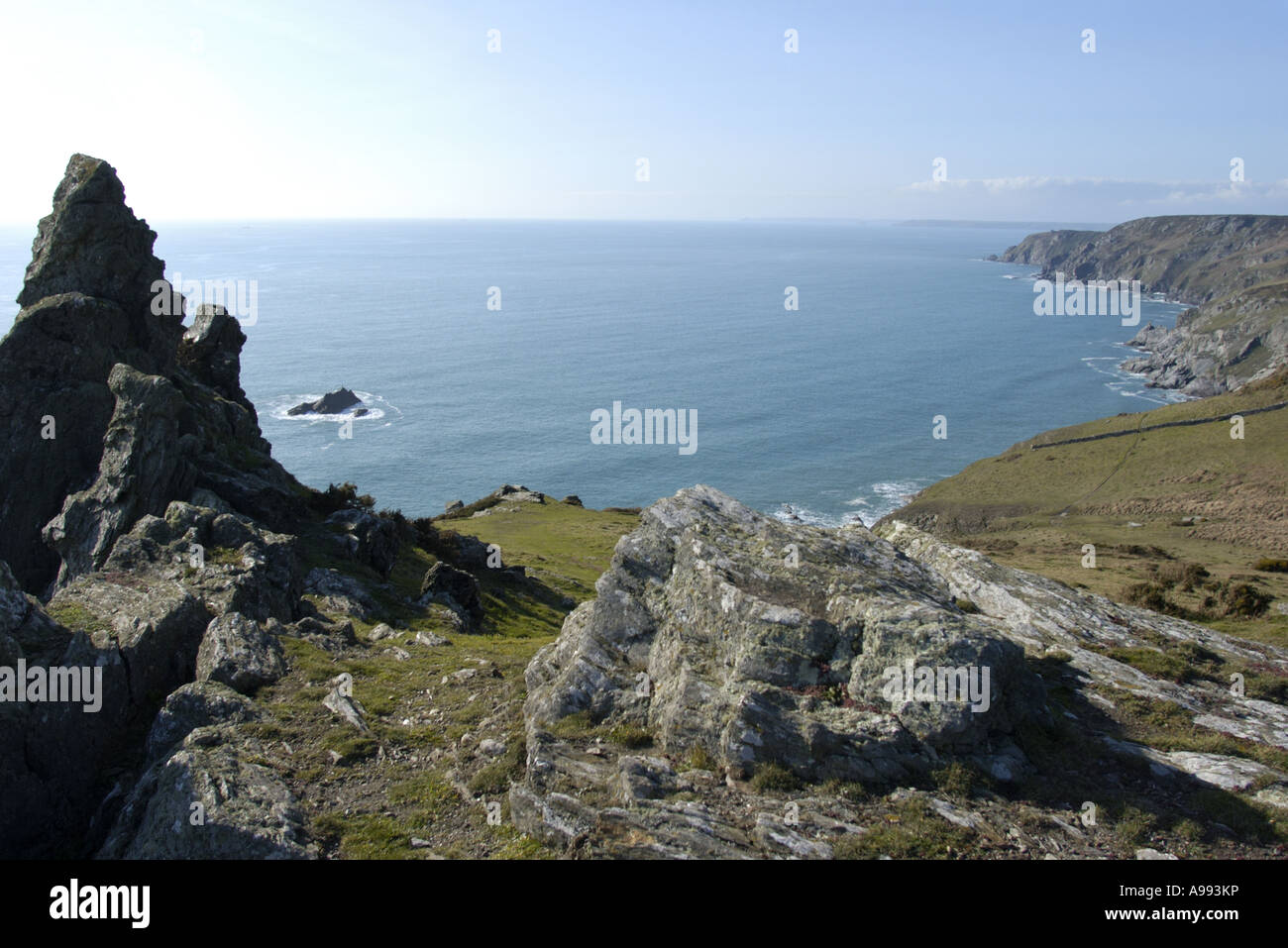 A view of the south west coast path between bolt head and bolt tail south devon england Stock Photo