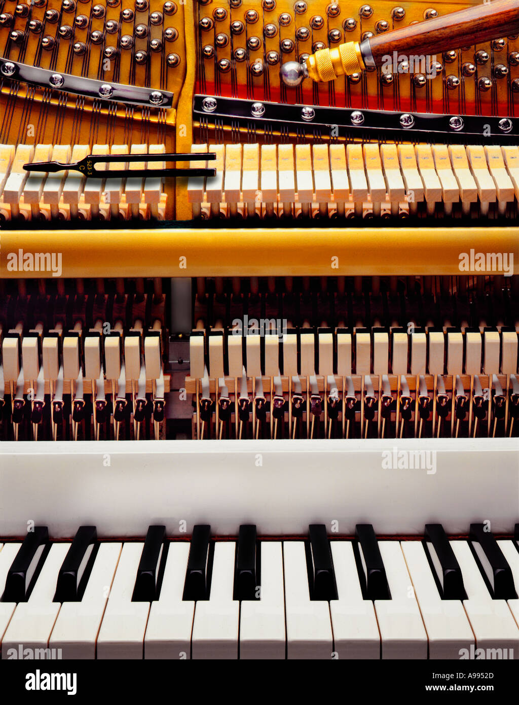 A piano keyboard and the inner workings and mechanisms of a piano - Stock Image