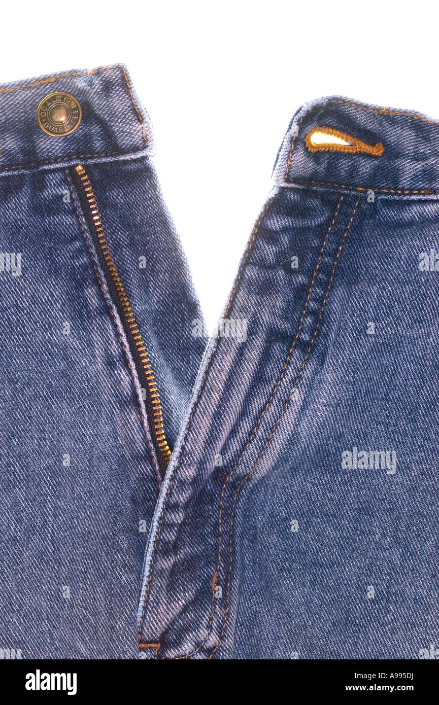 Front view of a pair of denim jeans - Stock Image