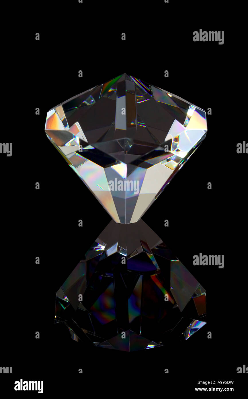 Crystal Diamond relfected on a black background Stock Photo