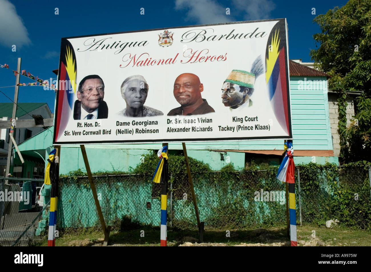 A large billboard depicting portraits of four national heroes of Stock  Photo - Alamy