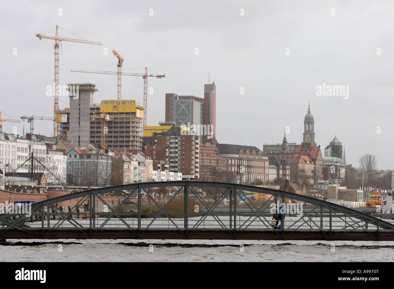 The high level of water in the River Elba after a force storm at traditional fish market area Fischmarkt in Hamburg Stock Photo