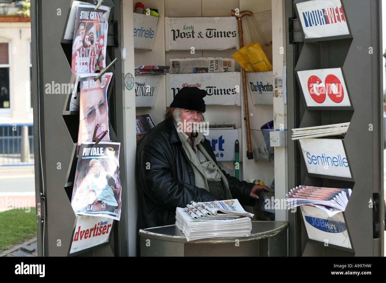 Newspaper seller, Hanley, Stoke on Trent, Staffordshire. - Stock Image