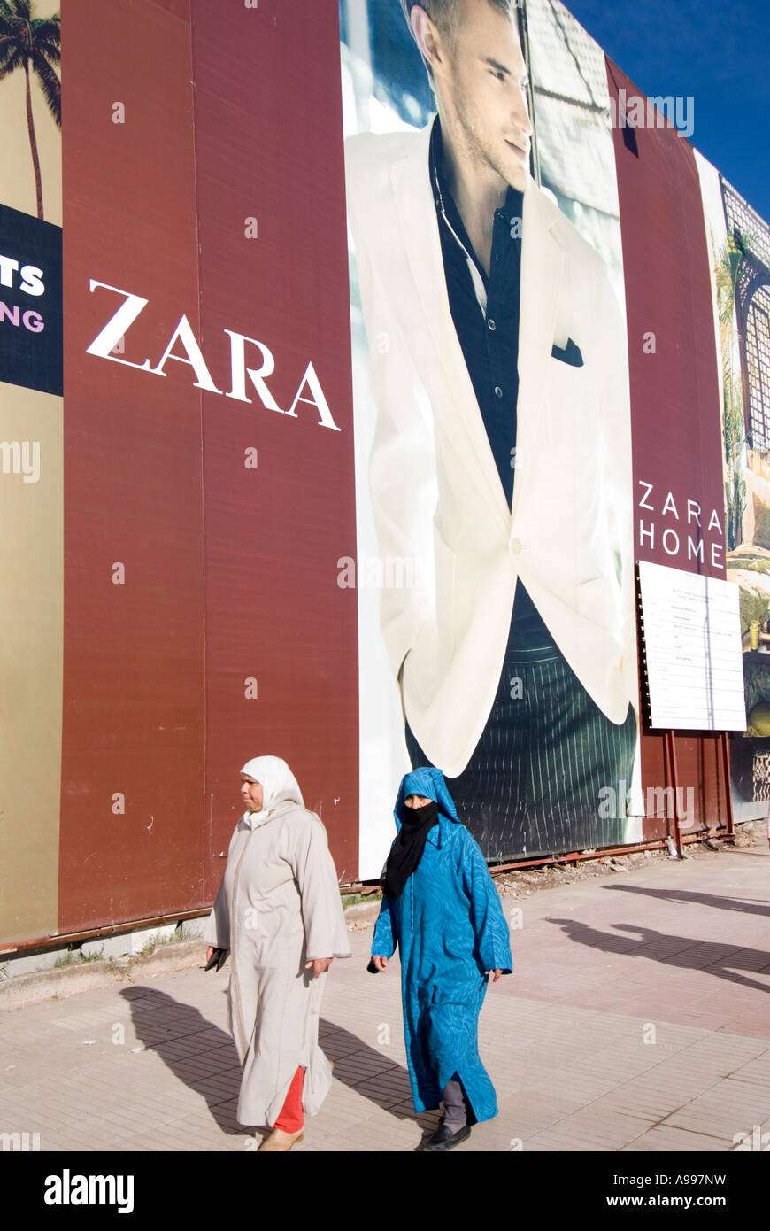 Placard advertising a European clothes chain store Zara in Gueliz Marrakesh Morocco - Stock Image
