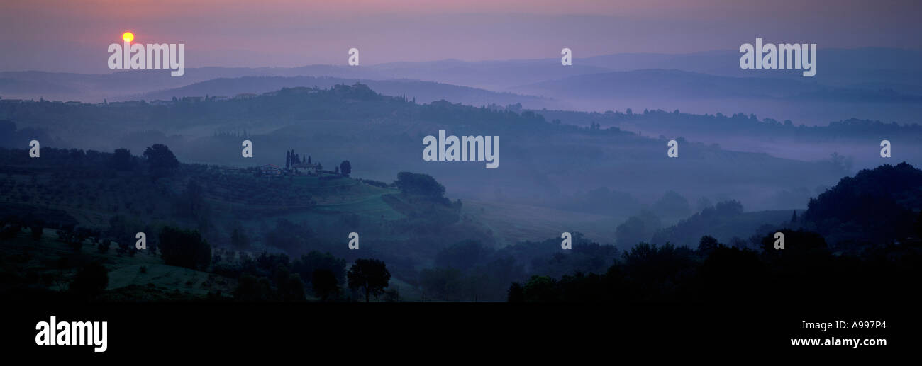 Tuscan Dawn from Barberino Val d Elsa Chianti Italy - Stock Image