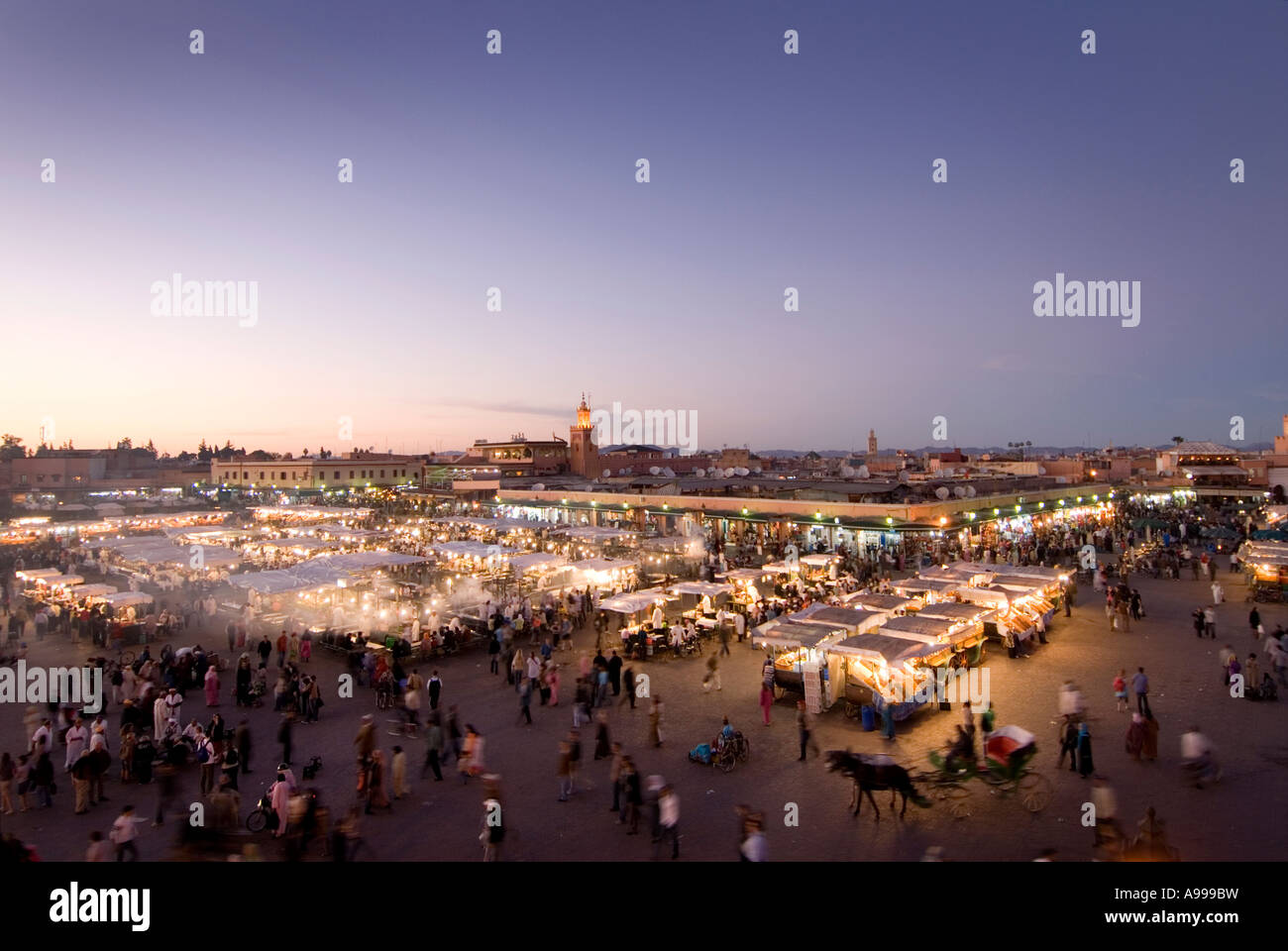 Panoramic view over the open air food stalls in the  central square of Djemaa El Fna in Marrakesh  Morocco Stock Photo