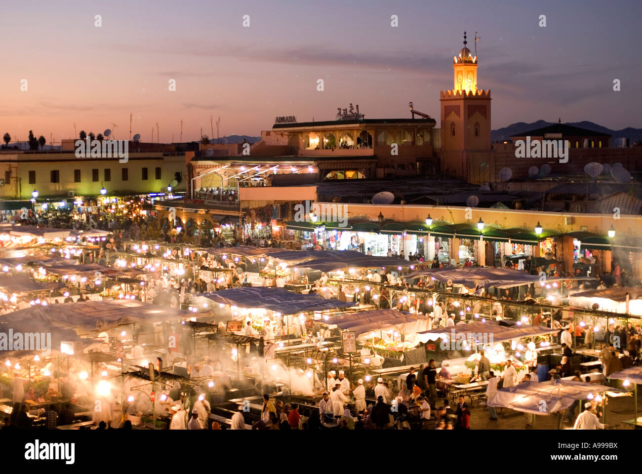 Aerial view over the open air food stalls in the central square of Djemaa El Fna in Marrakesh Morocco Stock Photo