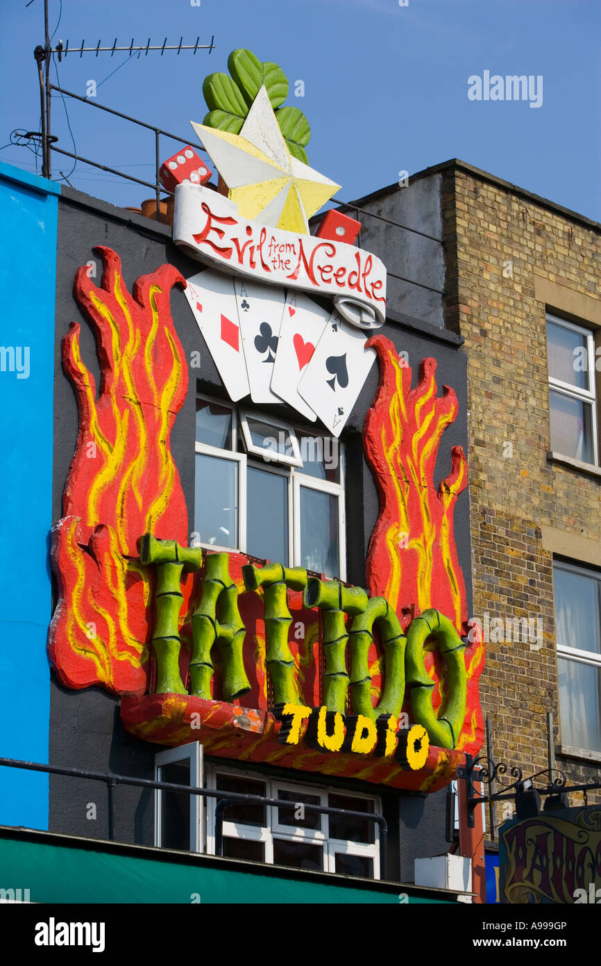 'Evil from the Needle' Tattoo Studio facade in Camden Town, London - Stock Image