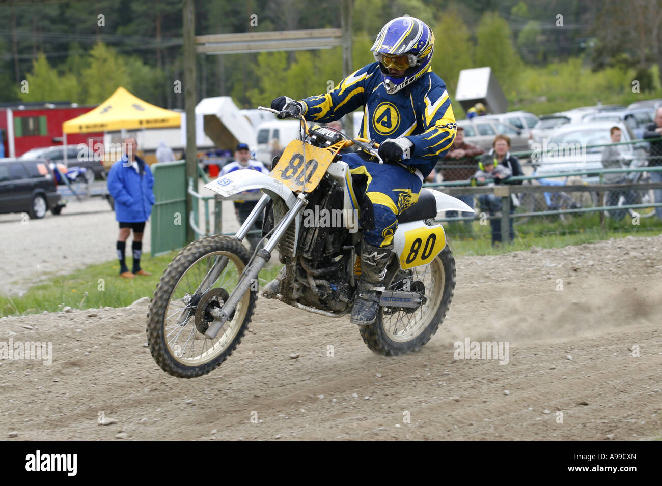 Old Dirtbike on track. - Stock Image