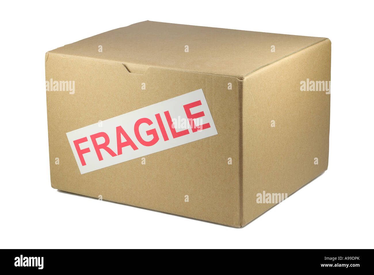 Cardboard box with Fragile on it isolated on white - Stock Image