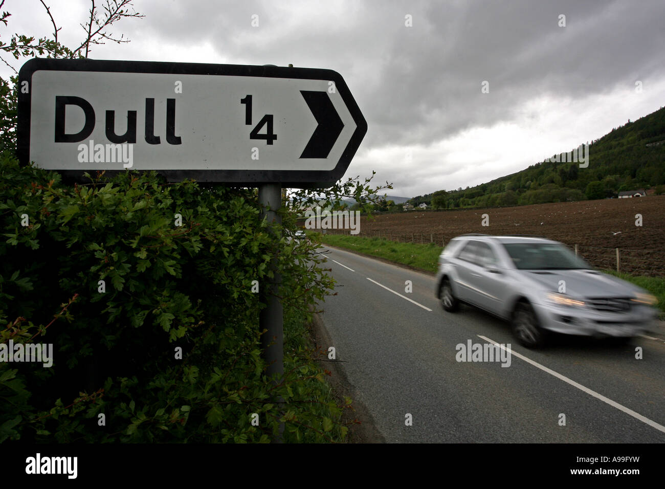 Sign showing way to village of Dull near Aberfeldy in Perthshire, Scotland, UK - Stock Image