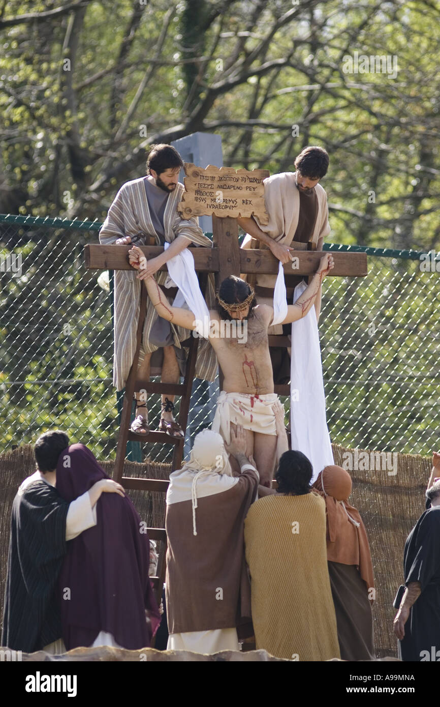 Jesus Christ is removed from the cross after being crucified during the Balmaseda Passion Play, northern Spain. Stock Photo