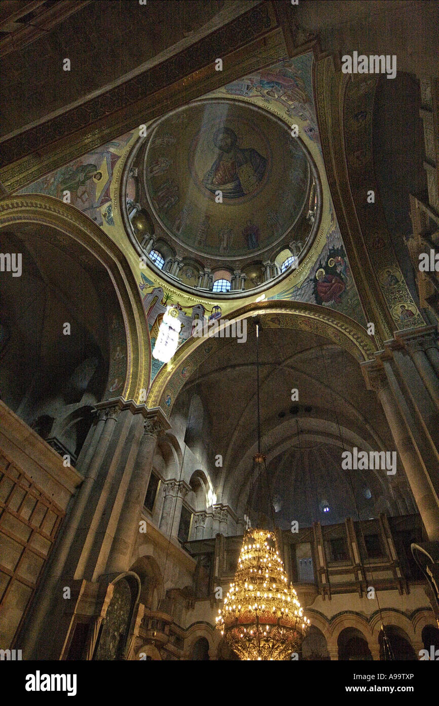 Israel Jerusalem Religious art work on the walls and ceiling of the church of the holy sepulchre - Stock Image