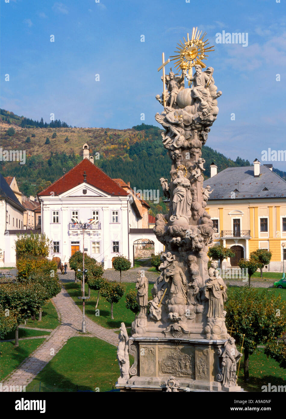 Kremnica town dates from 1328 year Monument to people died in 1765 72 epidemics momument shows 67 people - Stock Image