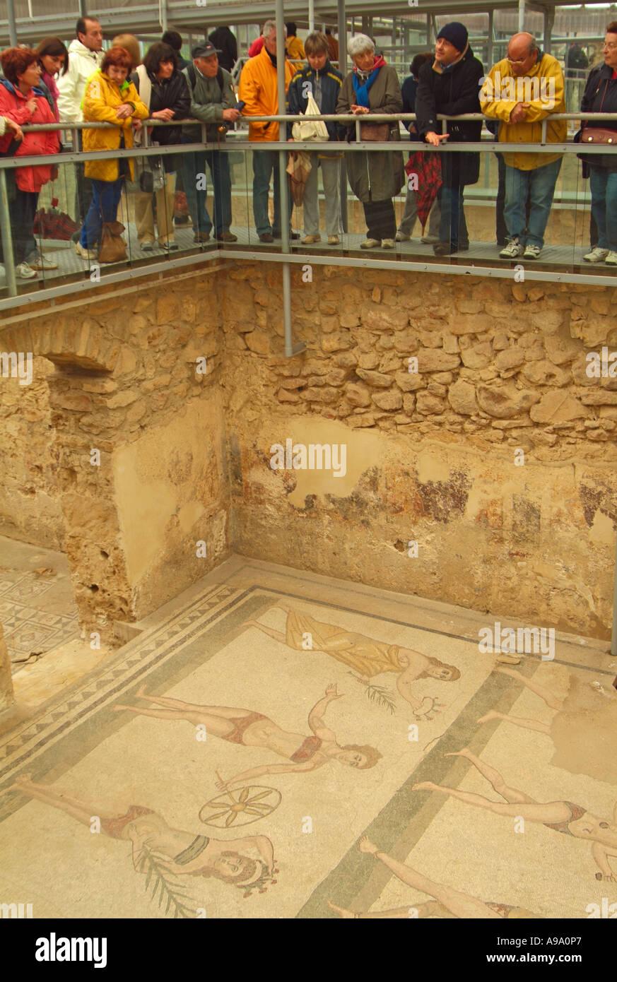 Ceramic floors in Roman bath house in Villa del Casale near Piazza ...