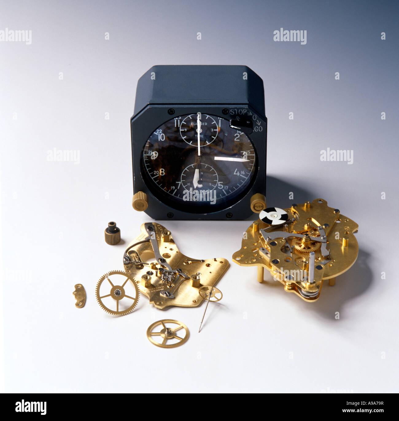 Aircraft Clock Dismantled - Stock Image