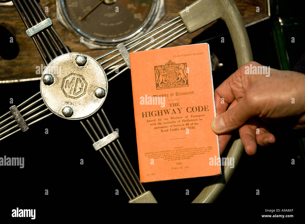 A copy of an original 1931 Highway Code book England UK The first edition was priced 1 penny - Stock Image