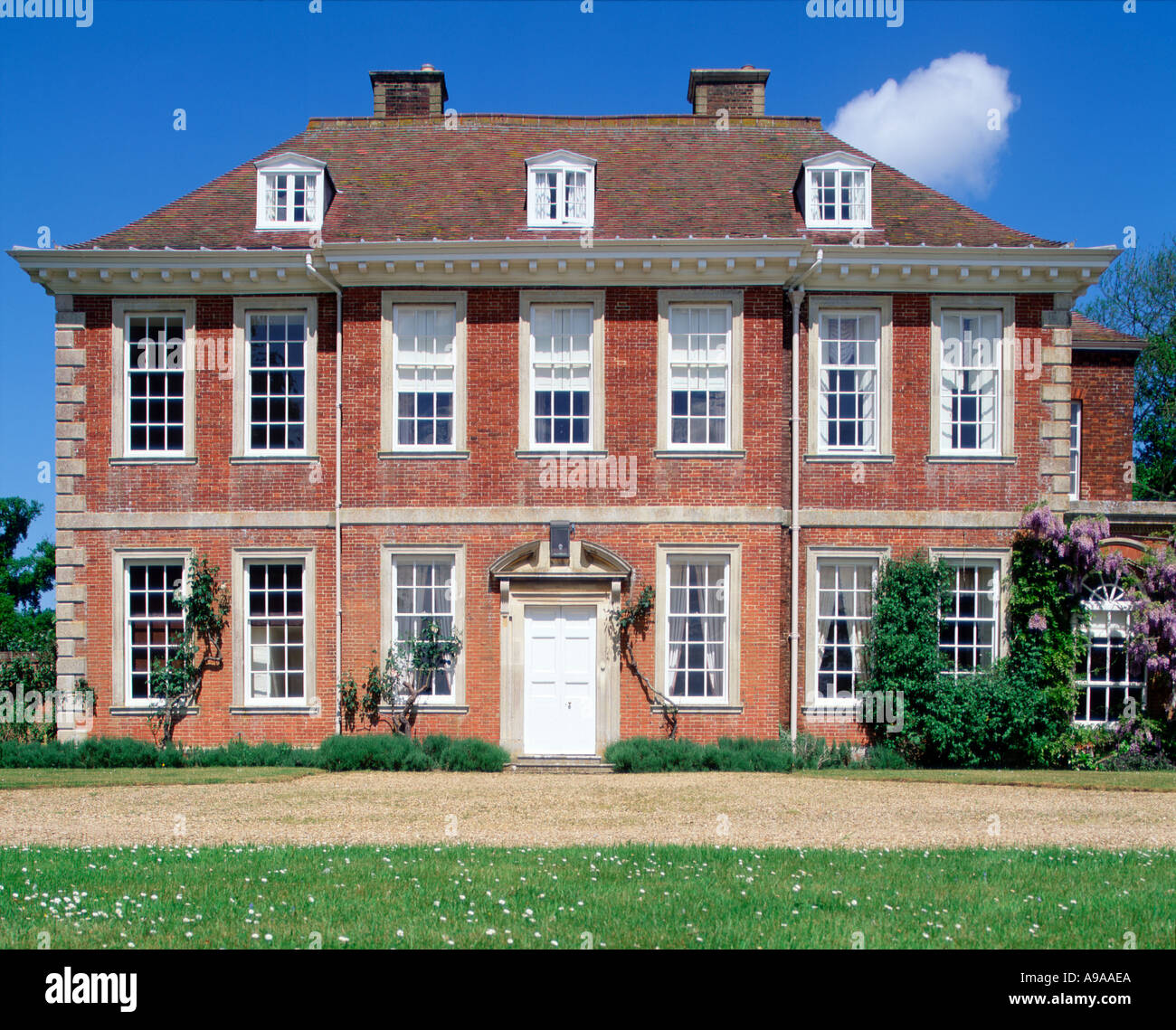 Frontal View Of Elegant 18th Century English Country House UK