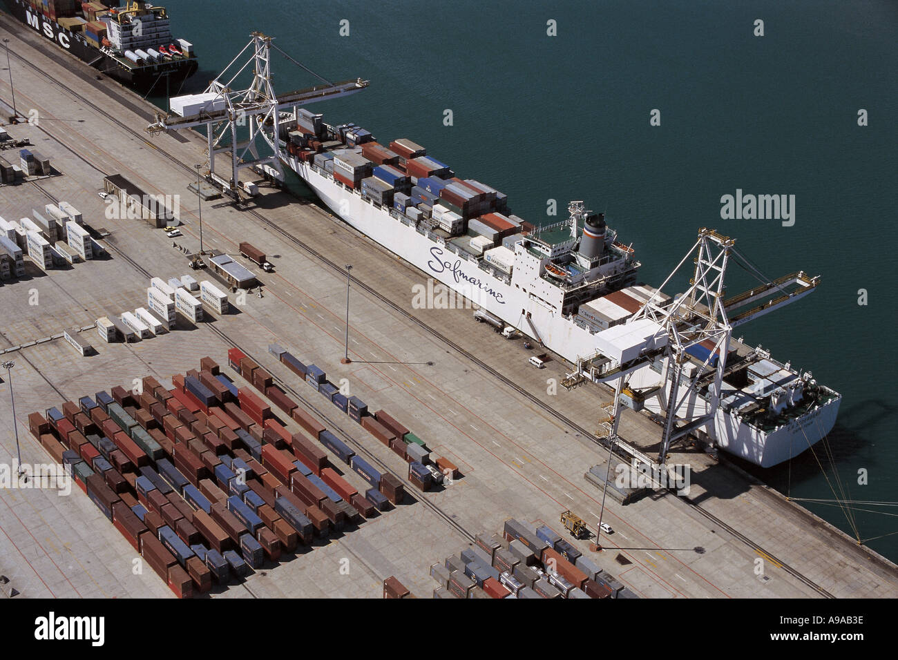 Cape Town South Africa the Safmarine Container ship  SA Sederberg on Duncan Dock aerial view Stock Photo
