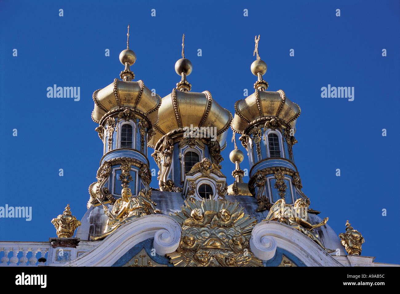 Russia Tsarskoe Selo gilded cupolas on the Chapel of Catherine Palace near St Petersburg - Stock Image