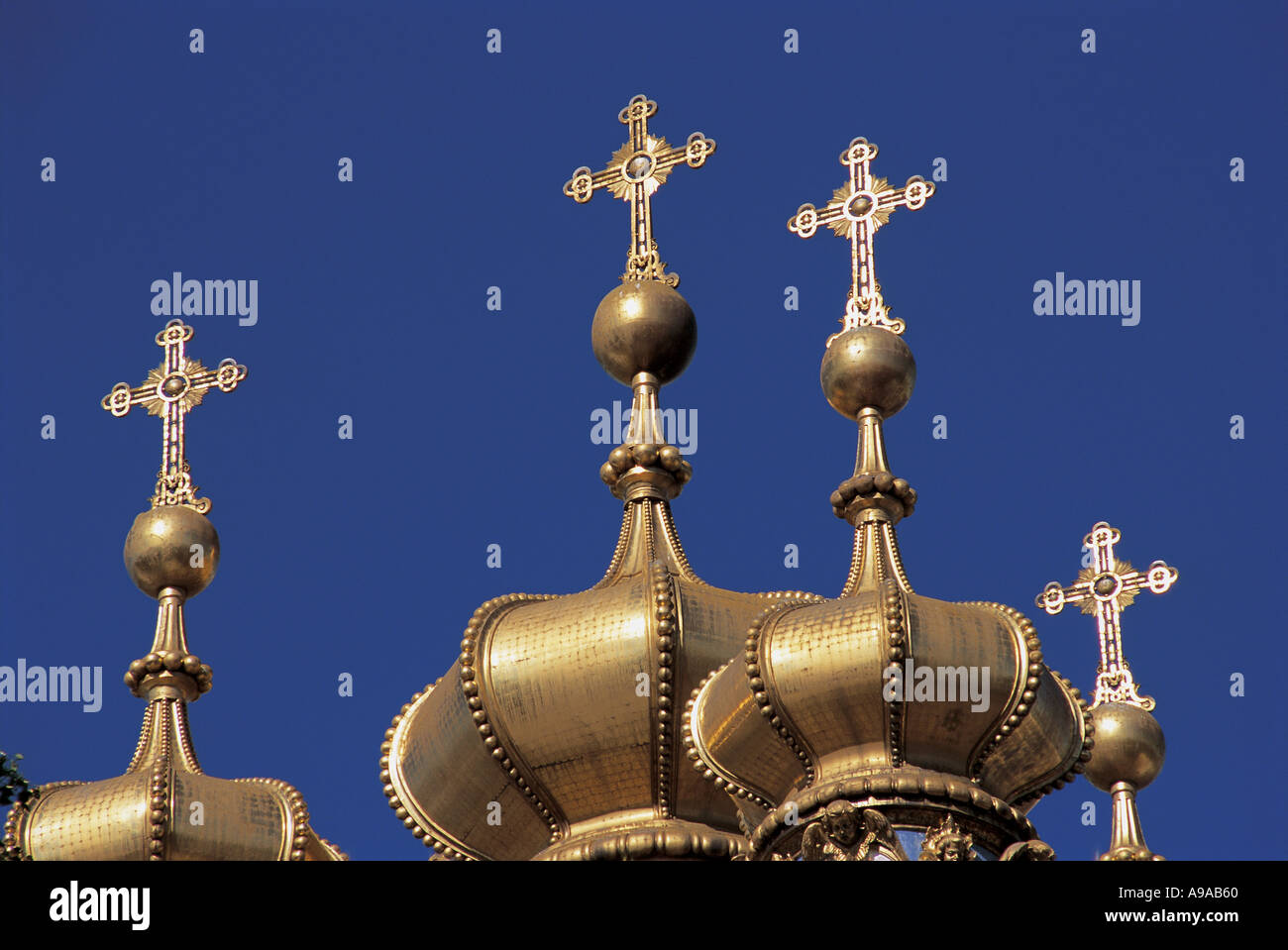 Russia Tsarskoe Selo near St Petersburg Gilded cupolas on the Chapel of Catherine Palace - Stock Image