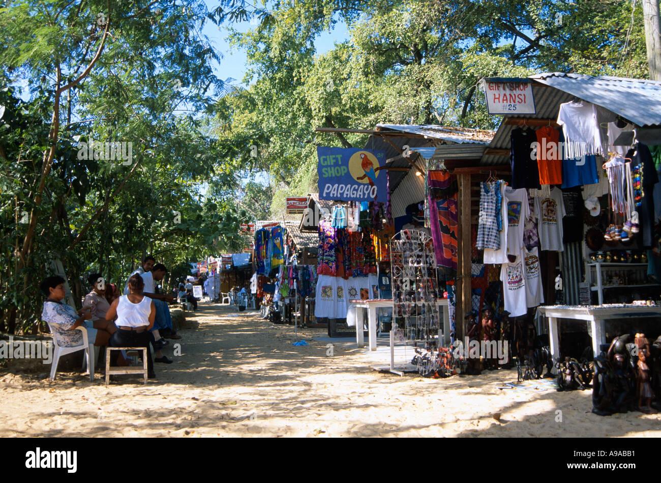 Market on the beach Sosua north coast Dominican Republic Hispaniola Caribbean Stock Photo