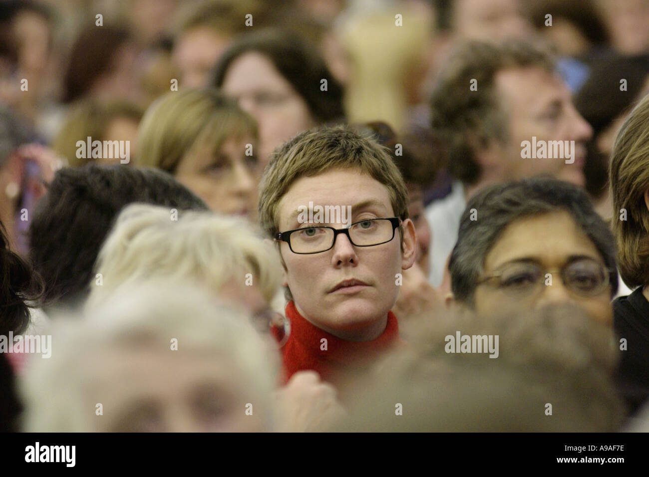 Audience during an event at Hay Festival 2002 Hay on Wye Powys Wales UK - Stock Image