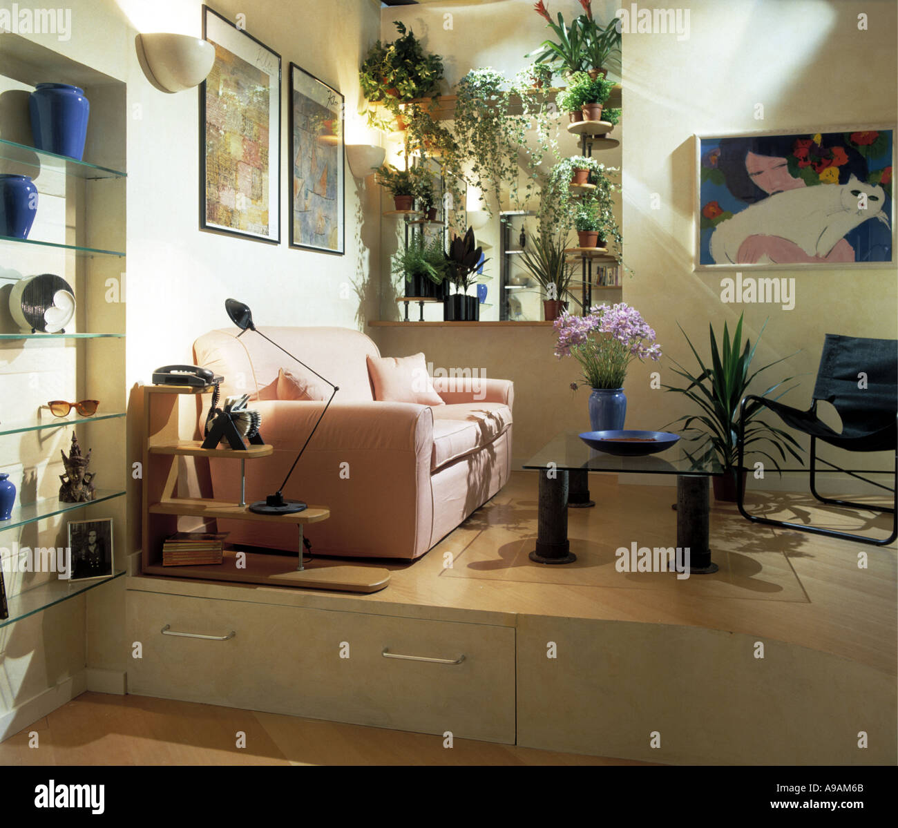 Fine Pink Sofa Bed In Apartment Livingroom With Storage Drawers Short Links Chair Design For Home Short Linksinfo