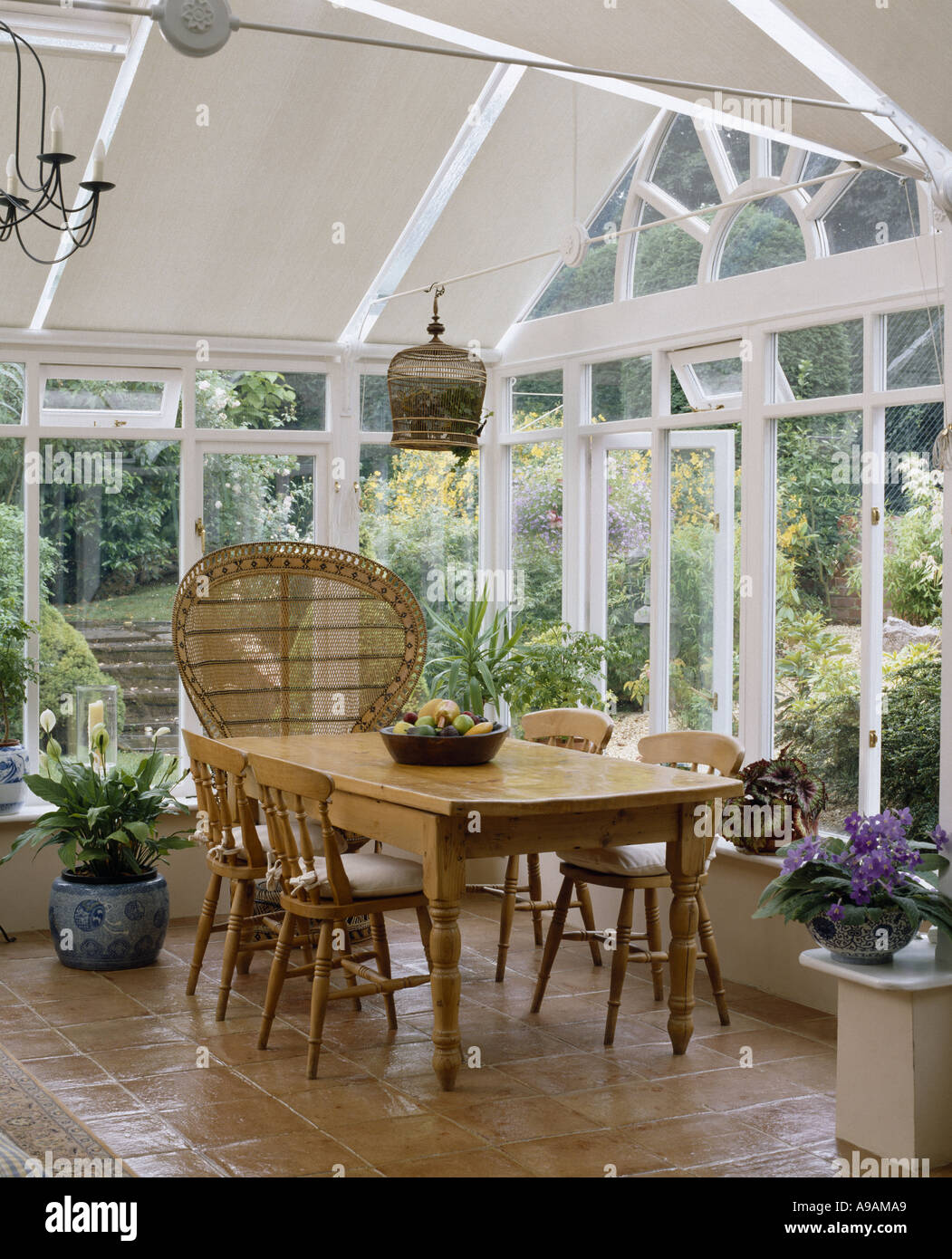 Old Pine Table And Chairs With Rattan Peacock Chair In Light And