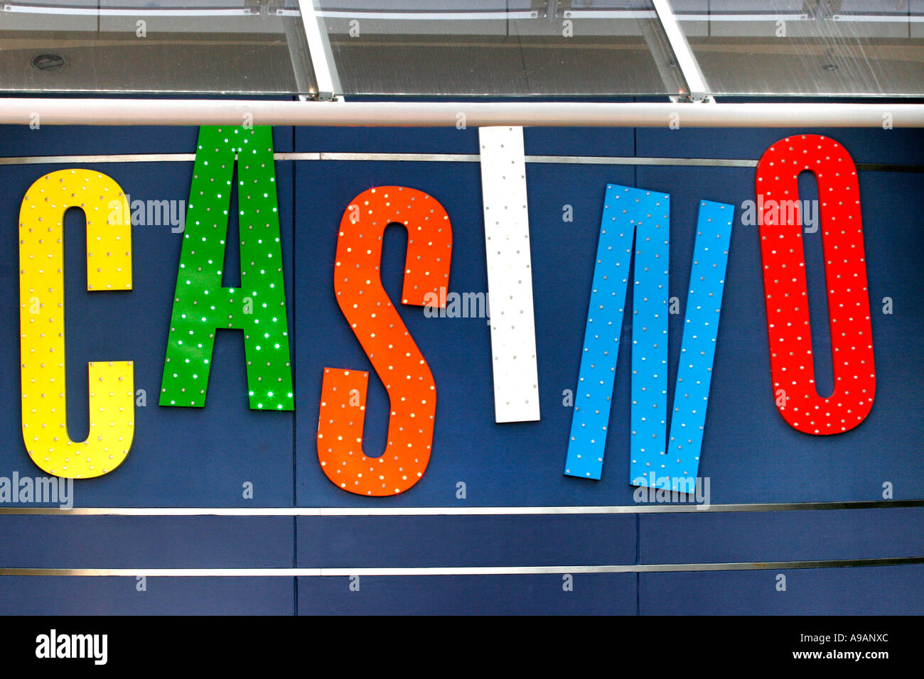 Colorful Casino sign at Star city Darling Harbour in Sydney - Stock Image