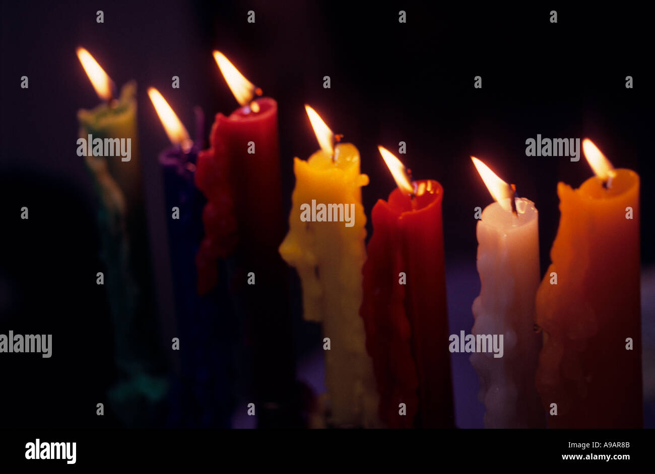 seven candles - Stock Image