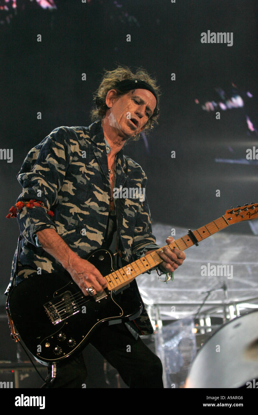 Lead guitarist Keith Richards from the legendary rock band The Rolling Stones concert in Sydney April 2006  Editorial Use Only - Stock Image