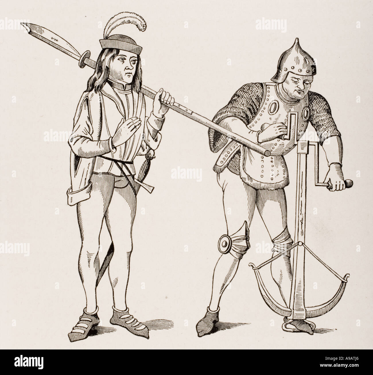 Varlet or Squire carrying thick bladed Halberd and Archer in fighting dress drawing crossbow string with double handled winch - Stock Image