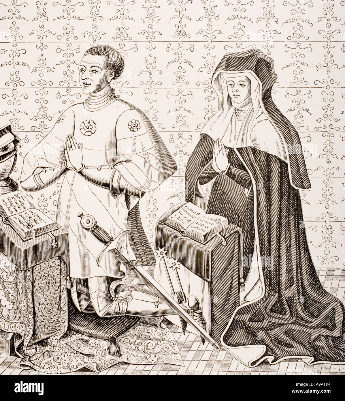 Jean Jouvenel des Ursins provost of the Merchants of Paris and his wife Michelle de Vitry - Stock Image