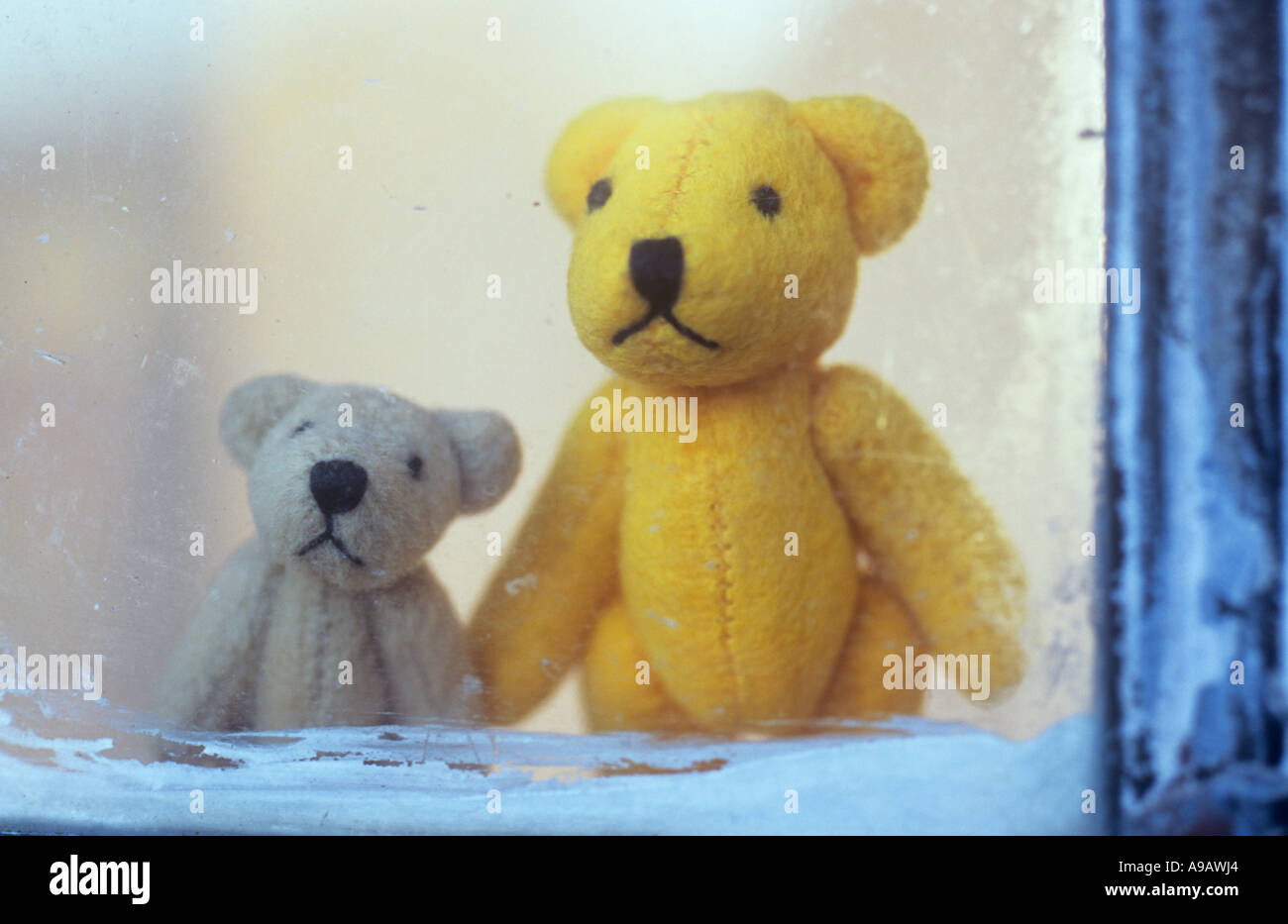 Close up of a mum or dad or sibling teddy bear with a young child ted standing looking out yearningly through a window - Stock Image
