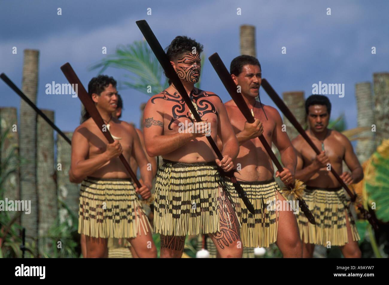 Maori Dance: Maori Men From New Zealand Perform A War Dance Using