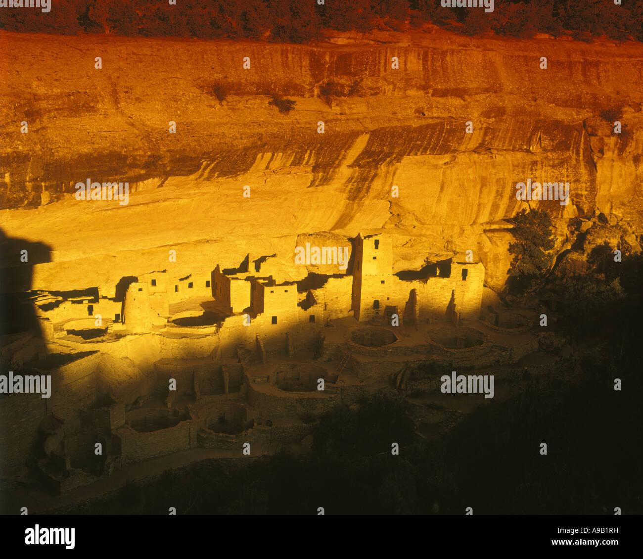 ANASAZI CLIFF PALACE RUINS MESA VERDE NATIONAL PARK CORTEZ COLORADO USA - Stock Image