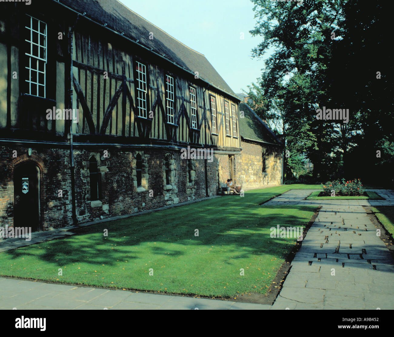 Ancient half timbered picturesque Merchant Adventurers Hall, Fossgate, City of York, North Yorkshire, England, UK. - Stock Image