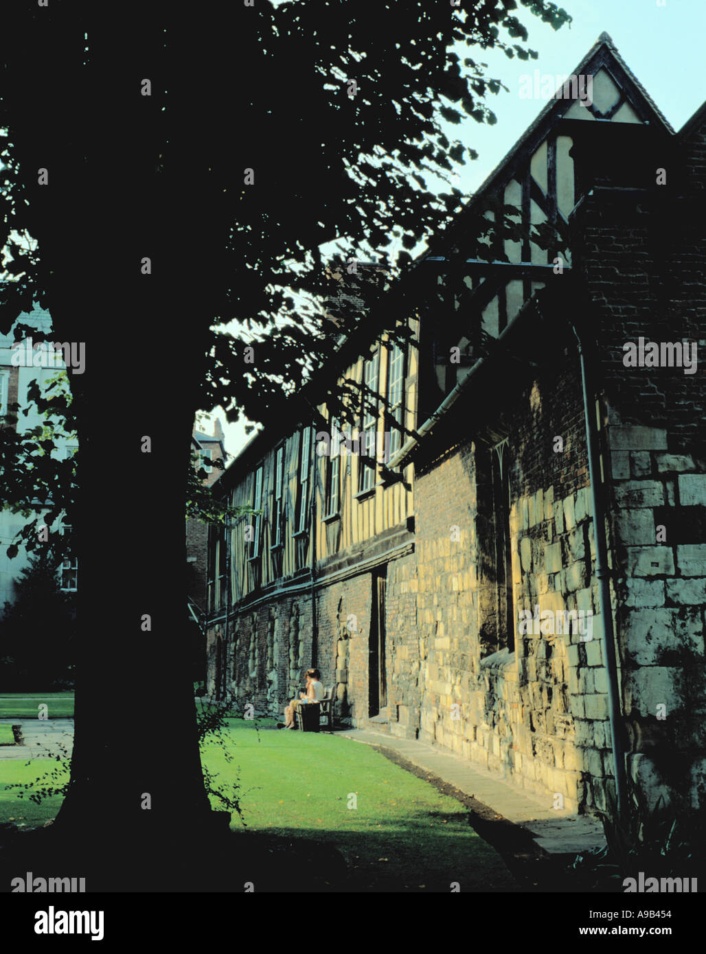 Picturesque ancient Merchant Adventurers Hall, Fossgate, City of York, North Yorkshire, England, UK. - Stock Image