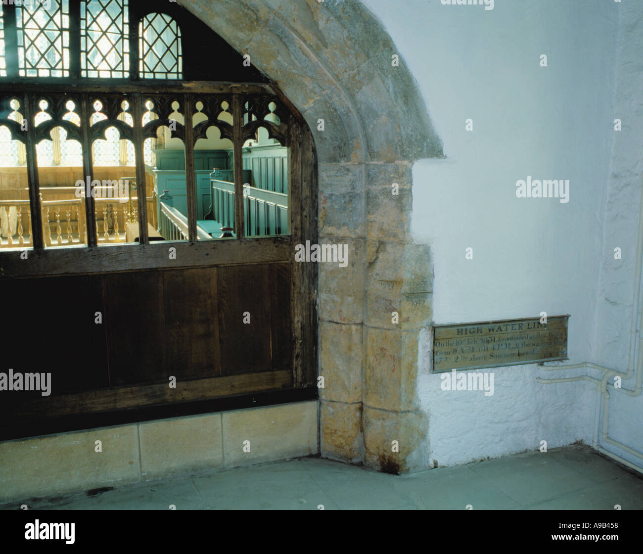 Flood level marks in the ancient Chapel, Merchant Adventurers Hall, Fossgate, City of York, North Yorkshire, England, UK. - Stock Image
