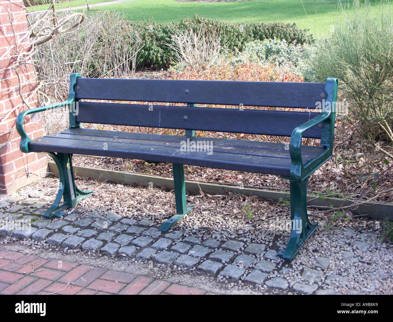Park Bench With Seating Slats Made From Recycled Plastic Waste Stock Photo Alamy