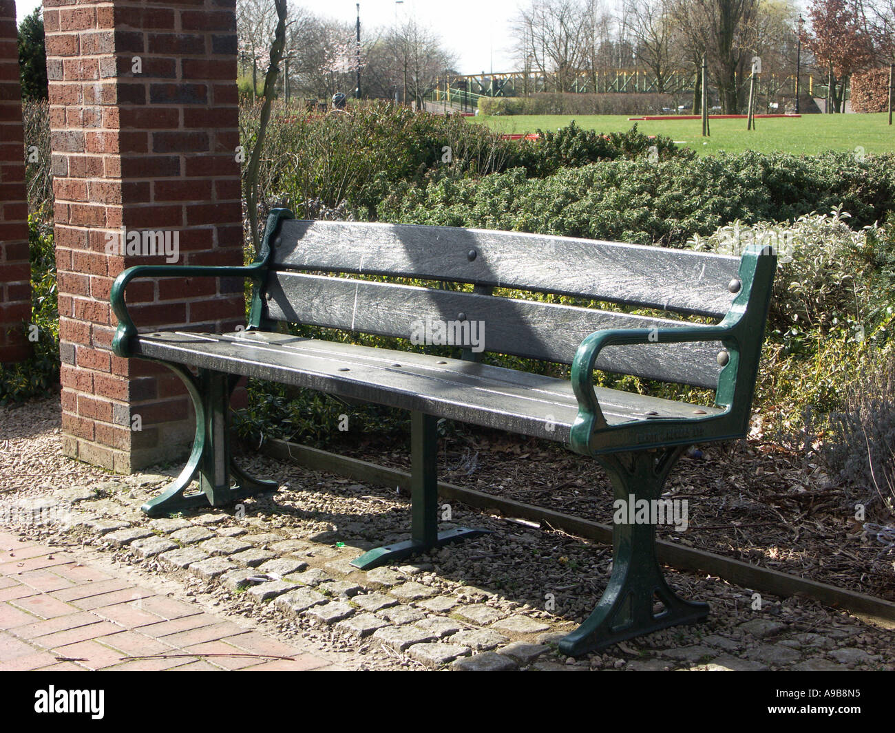 Park Bench With Seating Made From Recycled Plastic Stock Photo Alamy