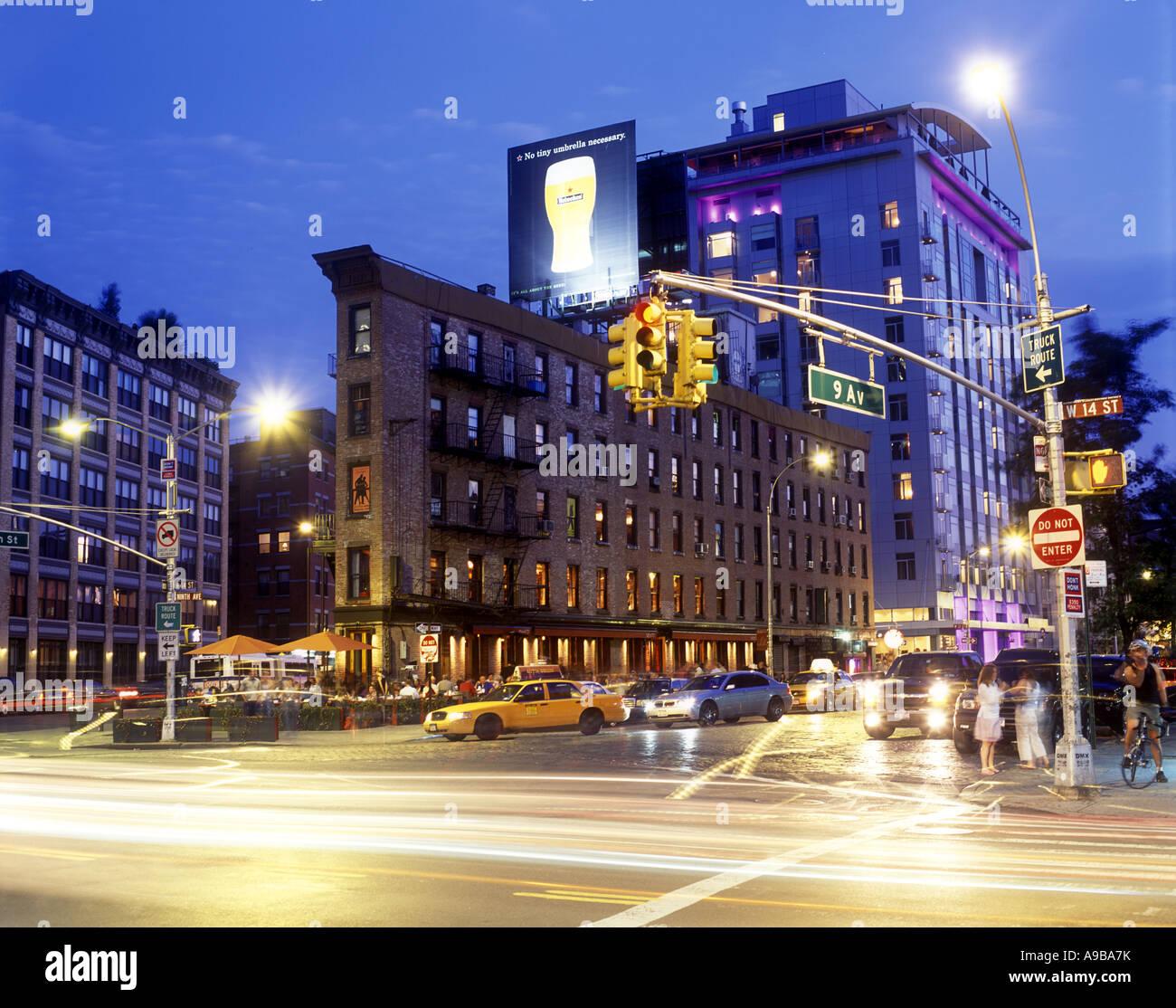 RESTAURANTS MEAT PACKING DISTRICT FOURTEENTH STREET MANHATTAN NEW YORK CITY USA - Stock Image