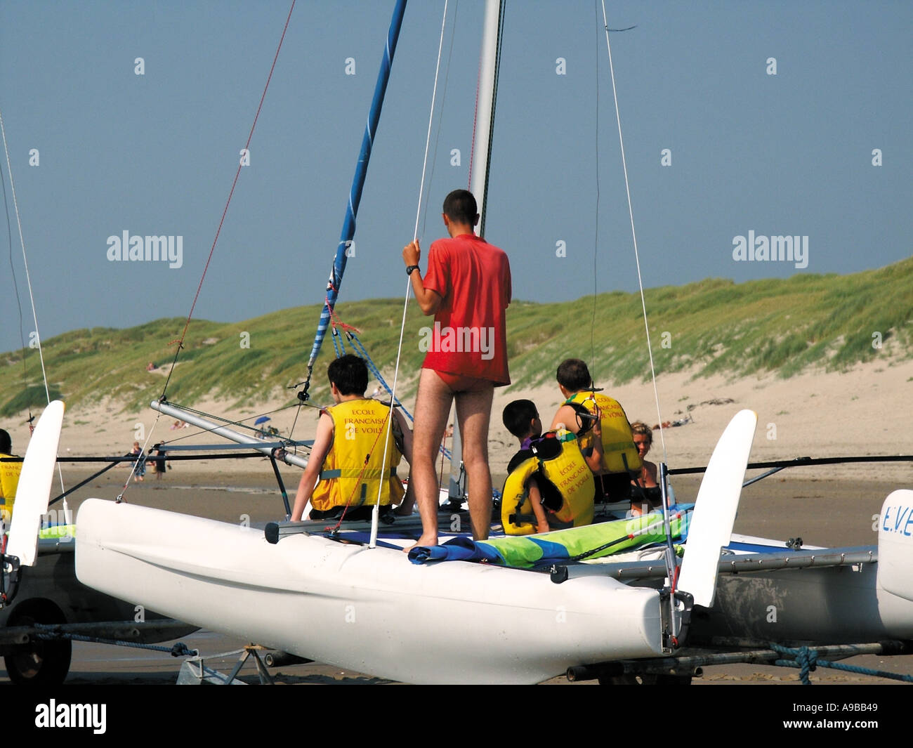 france nord picardy somme fort mahon plage sailing school ecole de voile - Stock Image