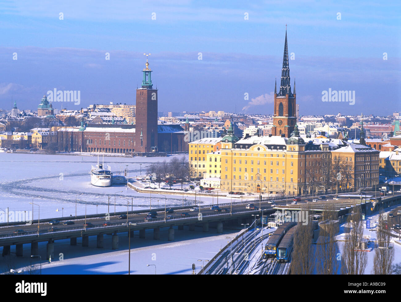 SWEDEN STOCKHOLM THE TOWN HALL AND RIDDARHOLMEN SEEN FROM SLUSSEN  Stock Photo