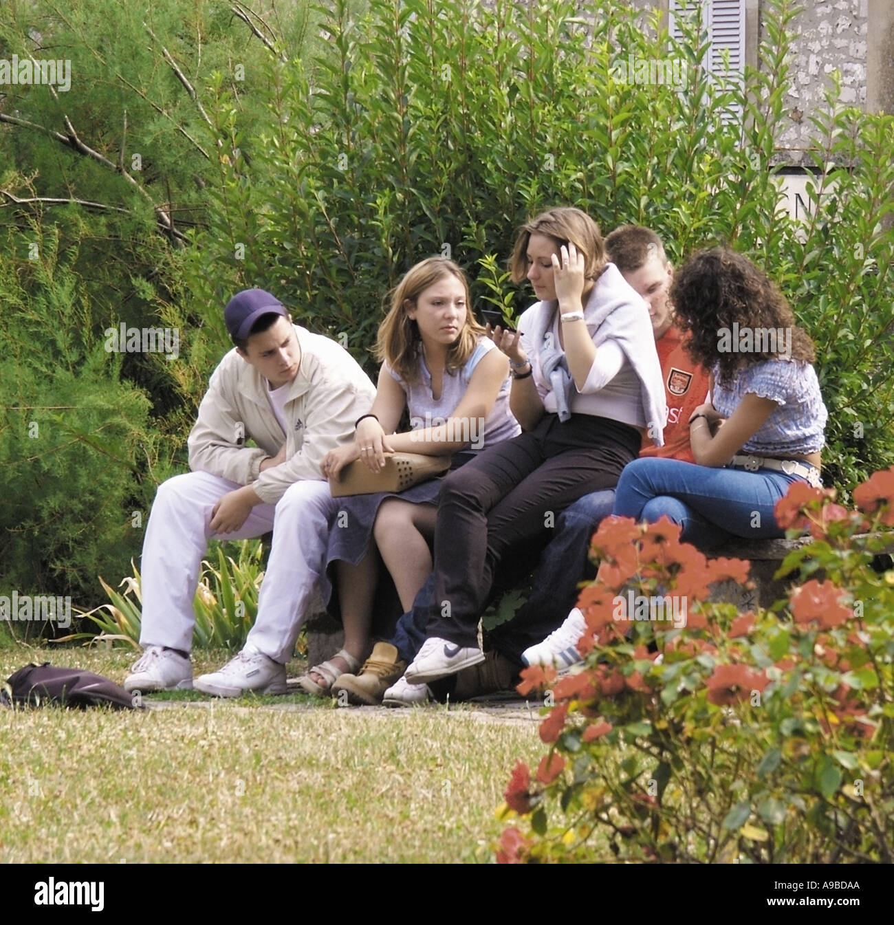 france group of french teenagers one using mobile phone - Stock Image