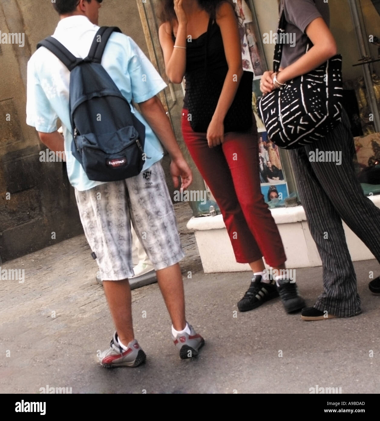 france group of french teenagers on street - Stock Image