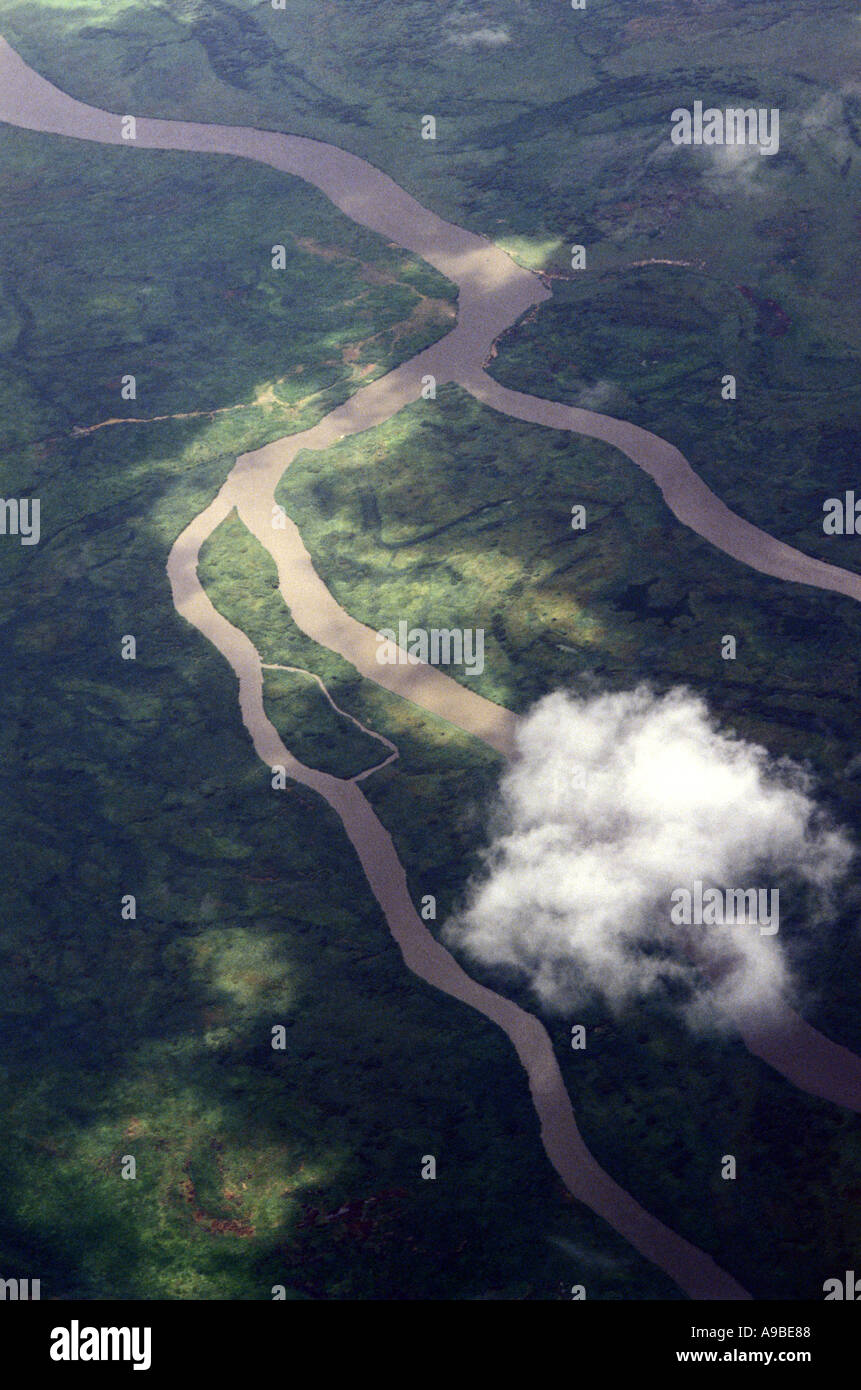 An aerial view of the river Nile in southern Sudan - Stock Image