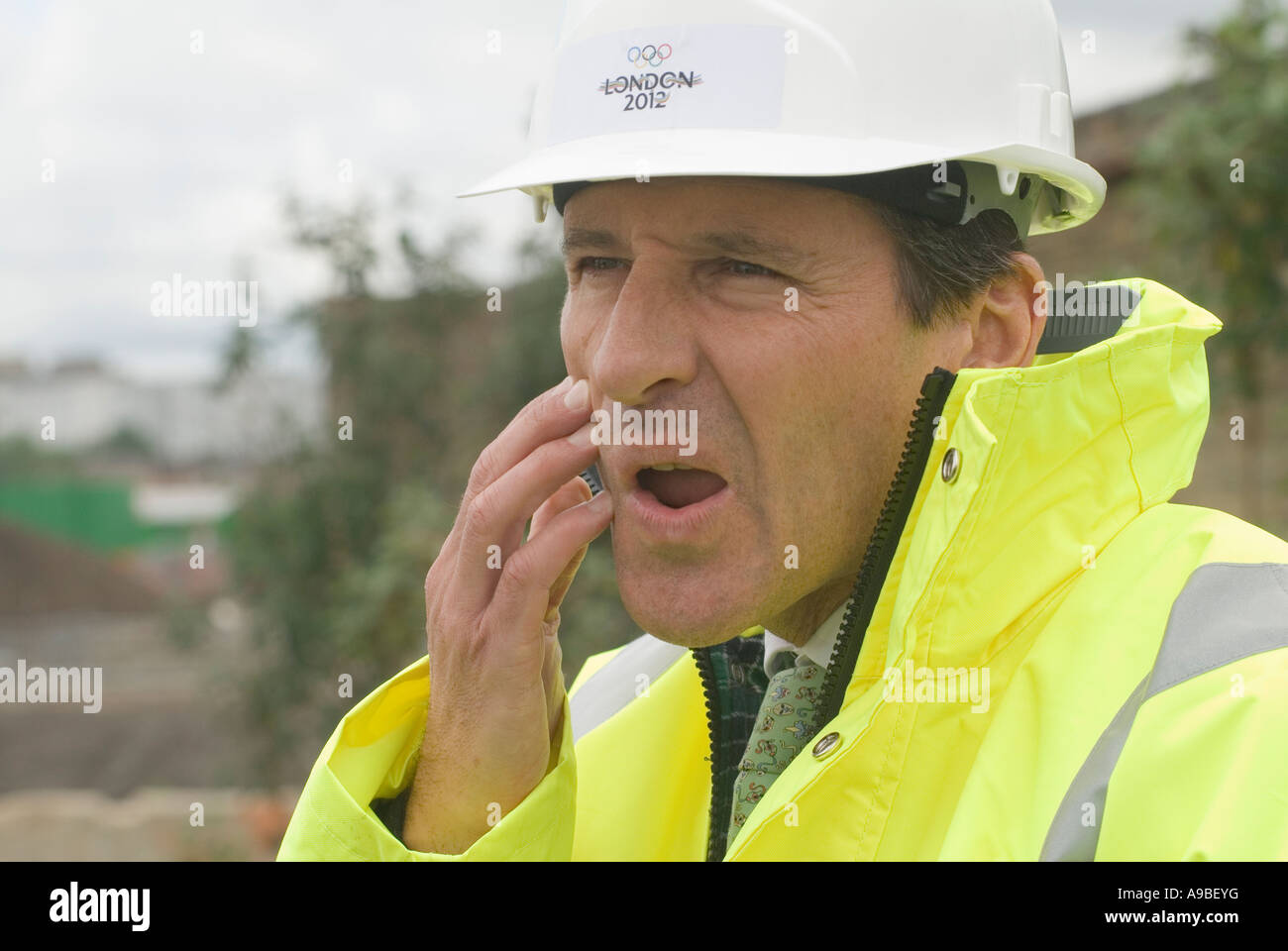 Lord Seb Sebastian Coe looking worried in hard hat East London Lee Valley site of the 2012 - Stock Image